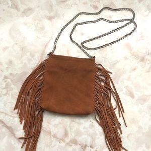 Mini Faux Suede Fringe Chain Strap Shoulder Bag